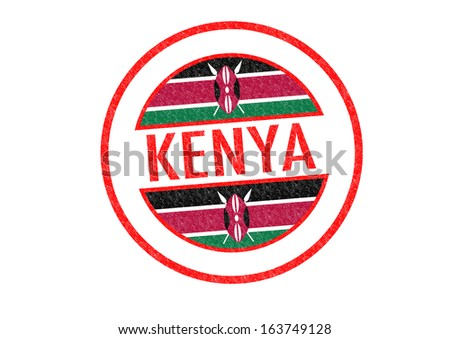 Passport-style KENYA rubber stamp over a white background. - stock photo
