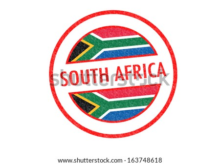 Passport-style SOUTH AFRICA rubber stamp over a white background. - stock photo