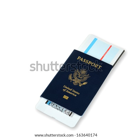 passport with an air ticket, close up on white - stock photo