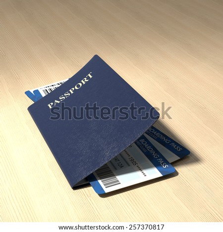 Passport with boarding pass on wooden table