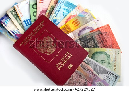 Passport with currency of different countries