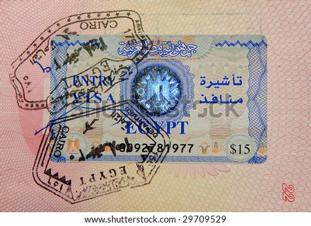 passport with egyptian visa and stamps