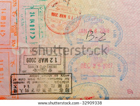 passport with hong kong stamps - stock photo