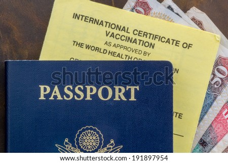 Passport with immunization card and currency - stock photo