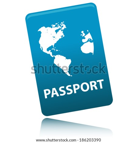 Passport with map isolated on white background