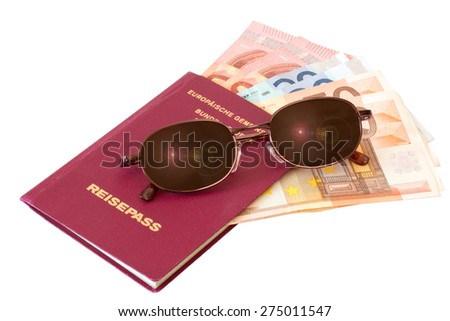 Passport with sunglasses and money isolated on white background