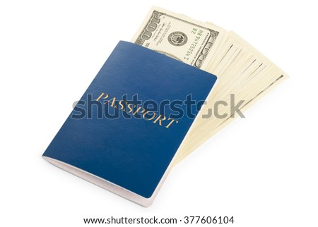 passport with US dollars banknotes isolated on white background