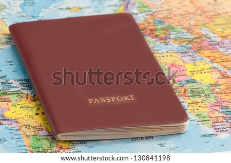 passport with world map, journey concept - stock photo