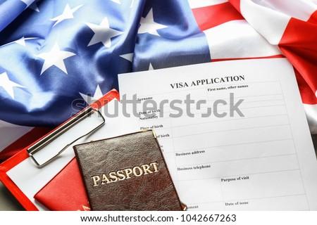Passports American Flag Visa Application Form Stock Photo Royalty