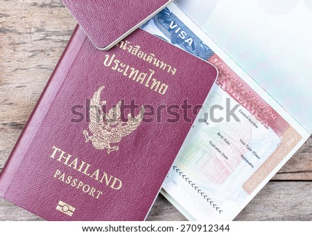 passports and visas - stock photo