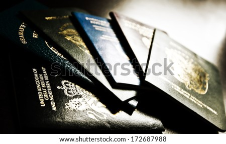 Passports - multi national ID, Seaman's Books, - spy / agent concept / Intelligence - Secret Service - stock photo