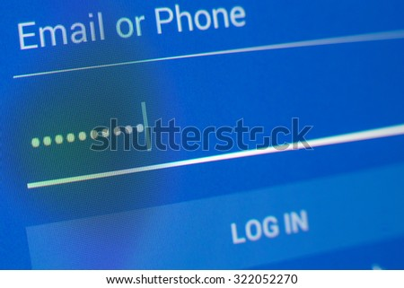 Password box in Internet Browser on Computer Screen - stock photo