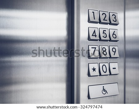 Password code Security keypad system protected in Public Building  - stock photo