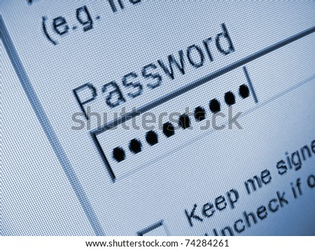 Password filed on a monitor - stock photo