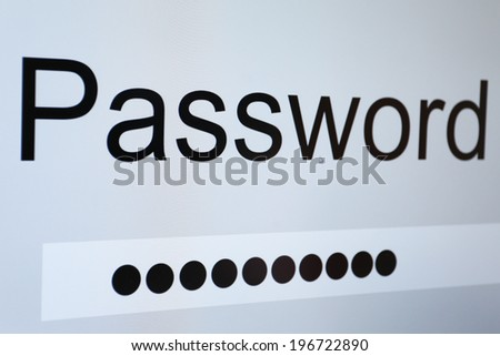 Password on monitor screen  - stock photo