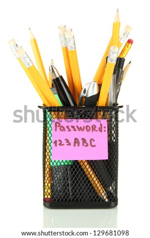 Password's reminder and office supplies, isolated on white