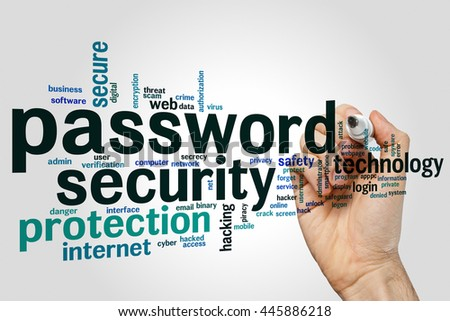 Password security concept word cloud background - stock photo