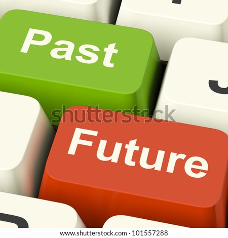 Past And Future Keys Shows Evolution Aging Or Progress - stock photo