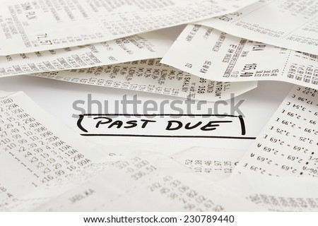 Past due bills to be paid on expenses - stock photo