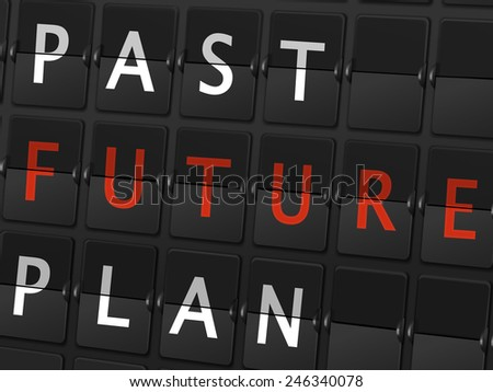 past future plan words on airport board background - stock photo