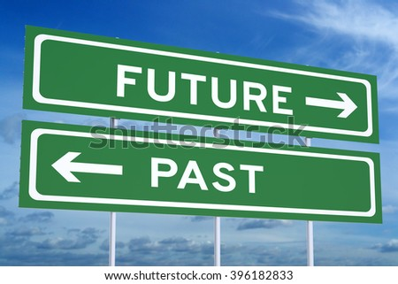 Past or Future concept on the road signpost, 3D rendering