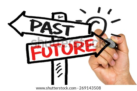 past or future on signpost concept hand drawing on whiteboard - stock photo