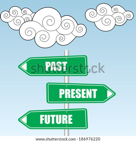 Past Present And Future Signpost design over sky and cloud background - jpg. - stock photo