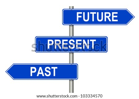 Past Present Future traffic sign on a white background - stock photo