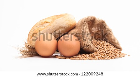 pasta and bread ingredients assortment isolated on white background - stock photo