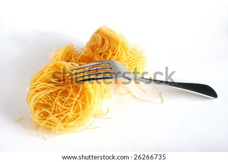 pasta and fork - stock photo
