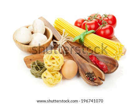 Pasta and ingredients. Isolated on white background - stock photo