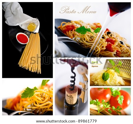 Pasta and wine several shot collage suitable for restaurant menu - stock photo