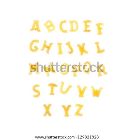 Pasta background with alphabet letters - stock photo