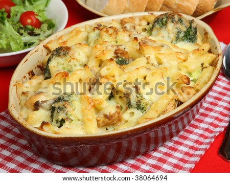 Pasta bake with salmon and broccoli - stock photo