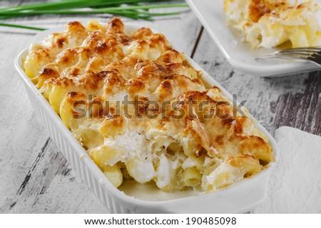 pasta casserole cheese white sauce - stock photo