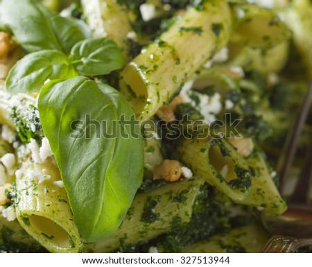 Pasta closeup. Penne Pasta with Pesto Sauce - stock photo