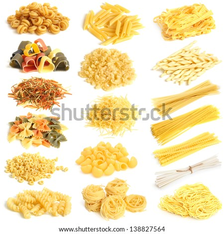 Pasta collection on a white background - stock photo