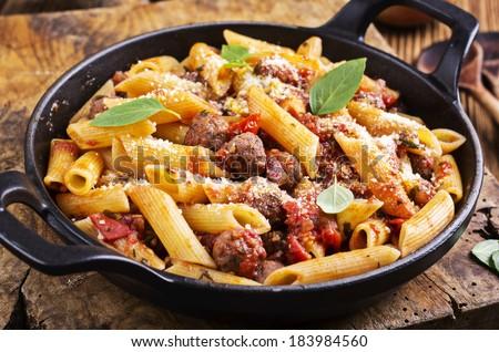 pasta con salsiccia - stock photo