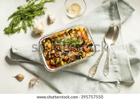 pasta cooked with vegetables - stock photo