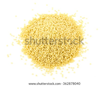 Pasta cuscus or Couscous isolated on white background. - stock photo