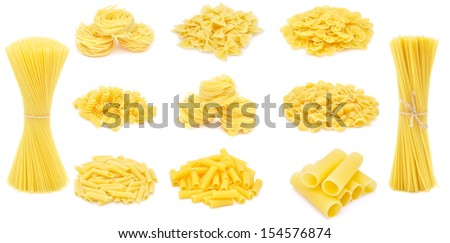 Pasta, different varieties, collection - isolated on white - stock photo