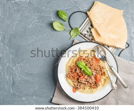 Pasta dinner. Spaghetti Bolognese in metal plate  with Parmesan cheese, grater and fresh basil over grey concrete background, copy space - stock photo