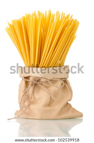 pasta in a bag isolated on white - stock photo