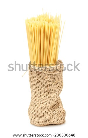 pasta in a bag on an isolated background - stock photo