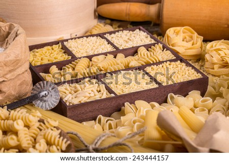 Pasta in a wooden box, pasta concept