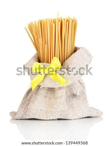 Pasta in bag isolated on white
