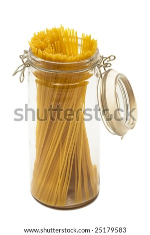 pasta in glass can on a white background - stock photo