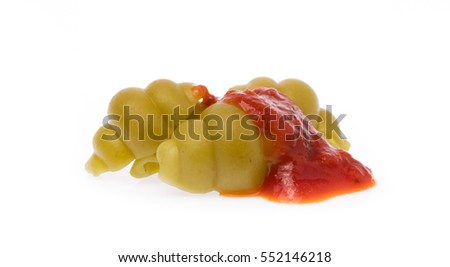 Pasta in sauce isolated on white background
