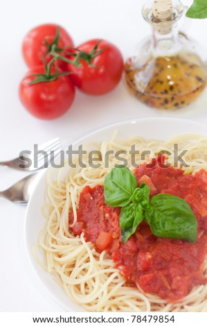 pasta ingredients isolated on white background