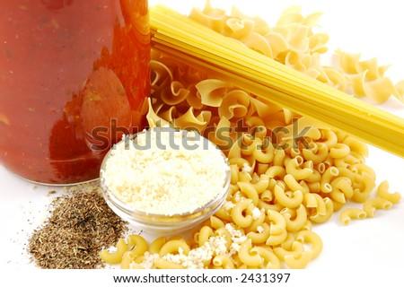 Pasta Ingredients Spaghetti Egg Noodles Elbow Macaroni Pasta Sauce In A